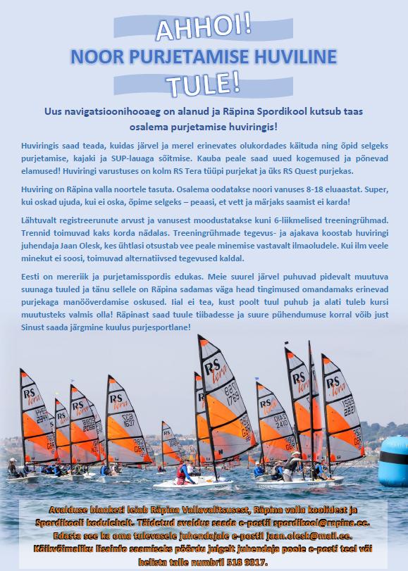 Räpina Spordikool kutsub osalema purjetamise huviringis!