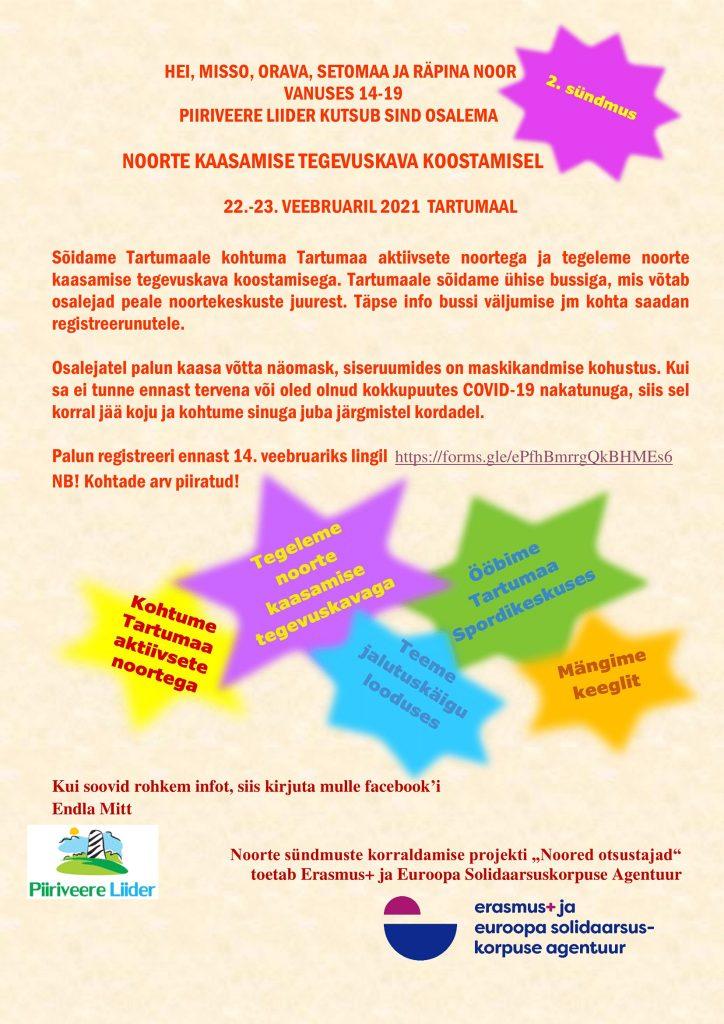NB! LÜKKUB EDASI!! Piiriveere Liider kutsub: noorte kaasamise tegevuskava koostamine!